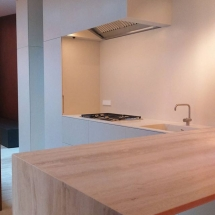 keuken, travertine, corian